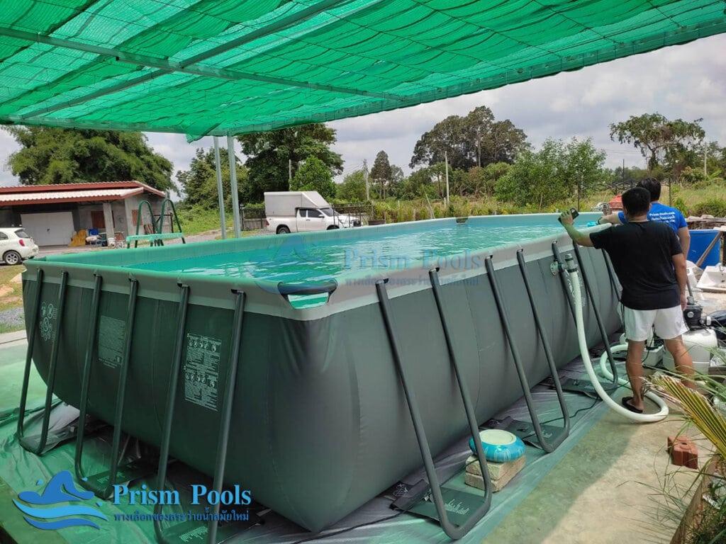 ติดตั้งสระว่ายน้ำ Intex Ultra XTR 24 ฟุต - 12
