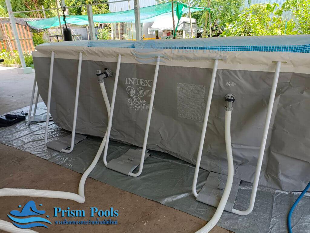 รีวิว ติดตั้งสระว่ายน้ำ Intex Prism Oval 16.6 ฟุต รหัส 26796 - 18