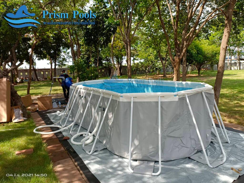 รีวิว ติดตั้งสระว่ายน้ำ Intex Prism Oval 16.6 ฟุต รหัส 26796 - 3