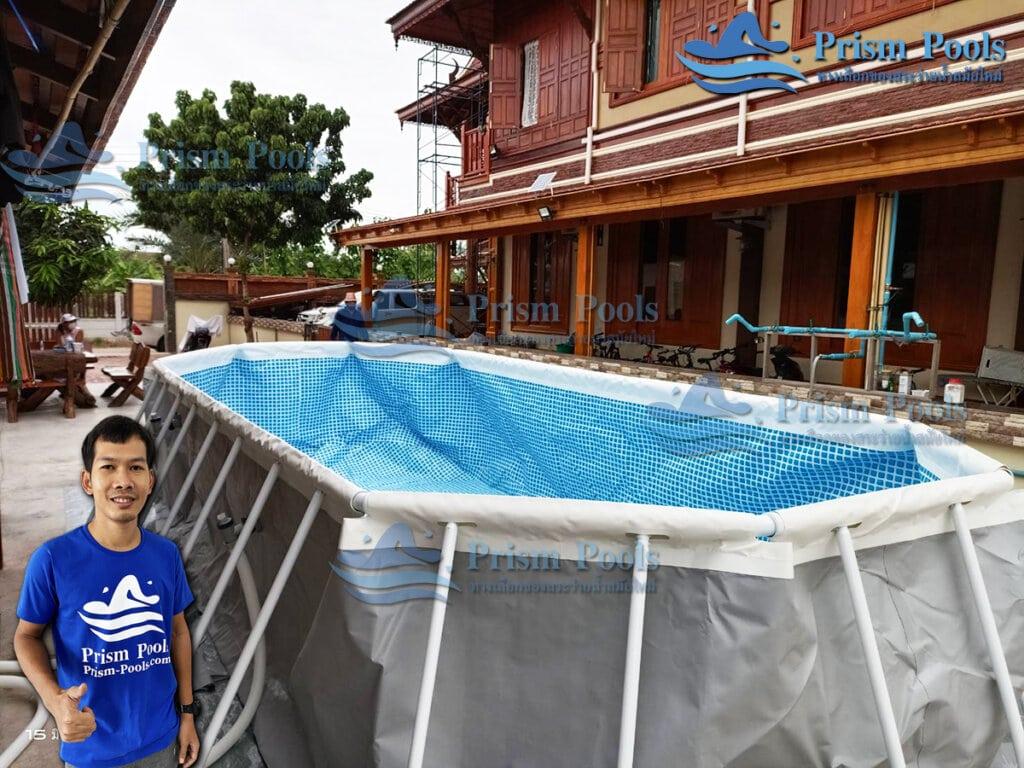 รีวิว ติดตั้งสระว่ายน้ำ Intex Prism Oval 16.6 ฟุต รหัส 26798-33