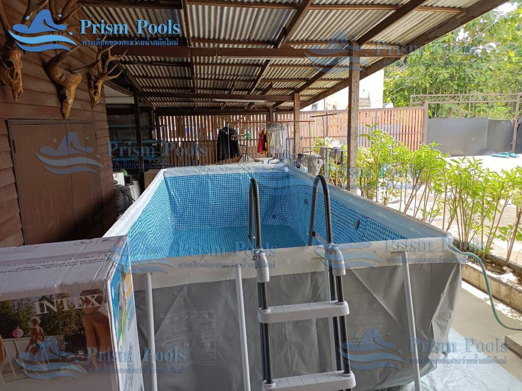 รีวิว ติดตั้งสระว่ายน้ำ Intex Prism Rectangular 16 ฟุต รหัส 26792 -106