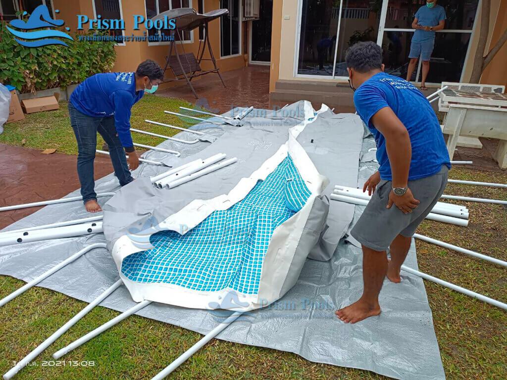 รีวิว ติดตั้งสระว่ายน้ำ Intex Prism Rectangular 16 ฟุต รหัส 26792 - 149