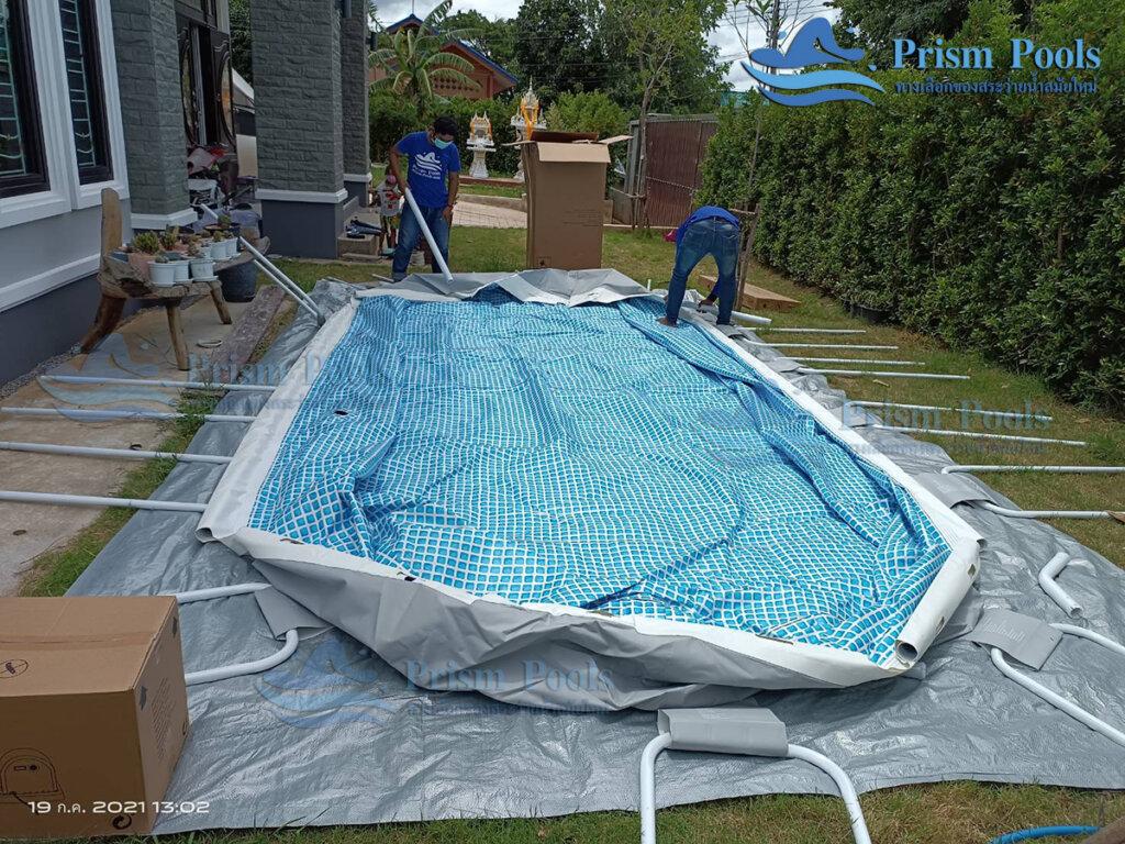 รีวิว ติดตั้งสระว่ายน้ำ Intex Prism Oval 20 ฟุต รหัส 26798-56