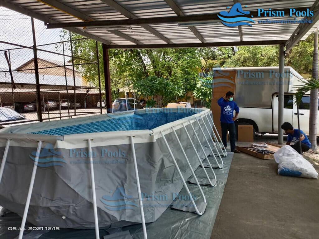 รีวิว ติดตั้งสระว่ายน้ำ Intex Prism Oval 20 ฟุต รหัส 26798-66