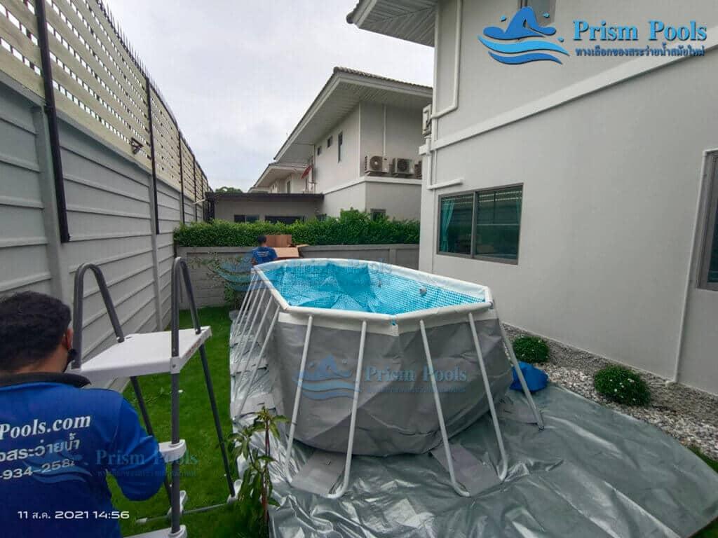 รีวิว ติดตั้งสระว่ายน้ำ Intex Prism Oval 20 ฟุต รหัส 26796-85