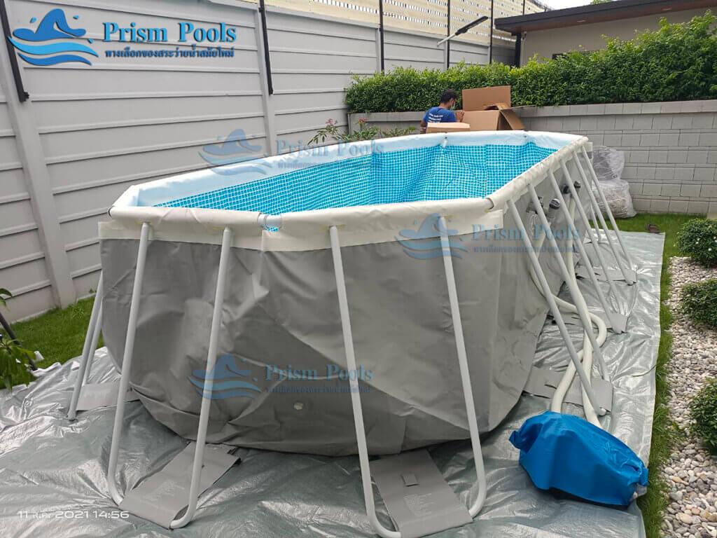 รีวิว ติดตั้งสระว่ายน้ำ Intex Prism Oval 20 ฟุต รหัส 26796-88
