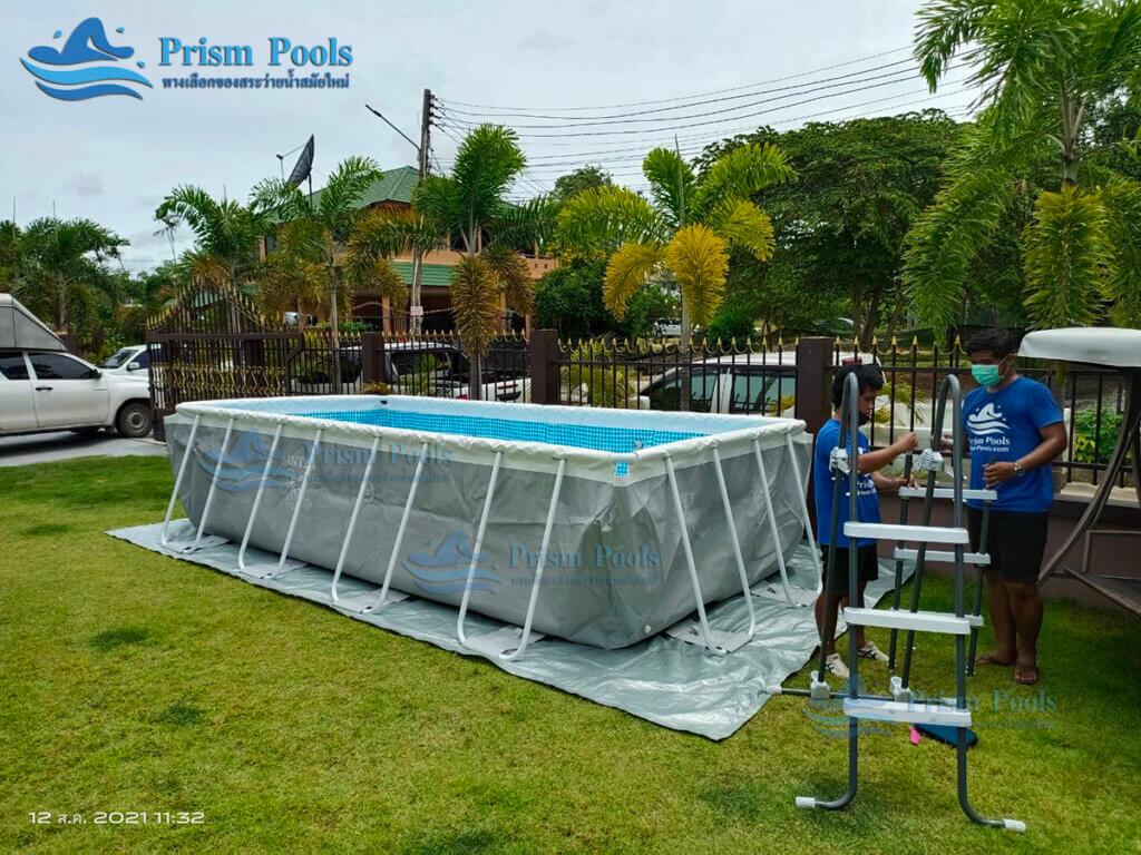 รีวิว ติดตั้งสระว่ายน้ำ Intex Prism Rectangular 16 ฟุต รหัส 26792 - 178