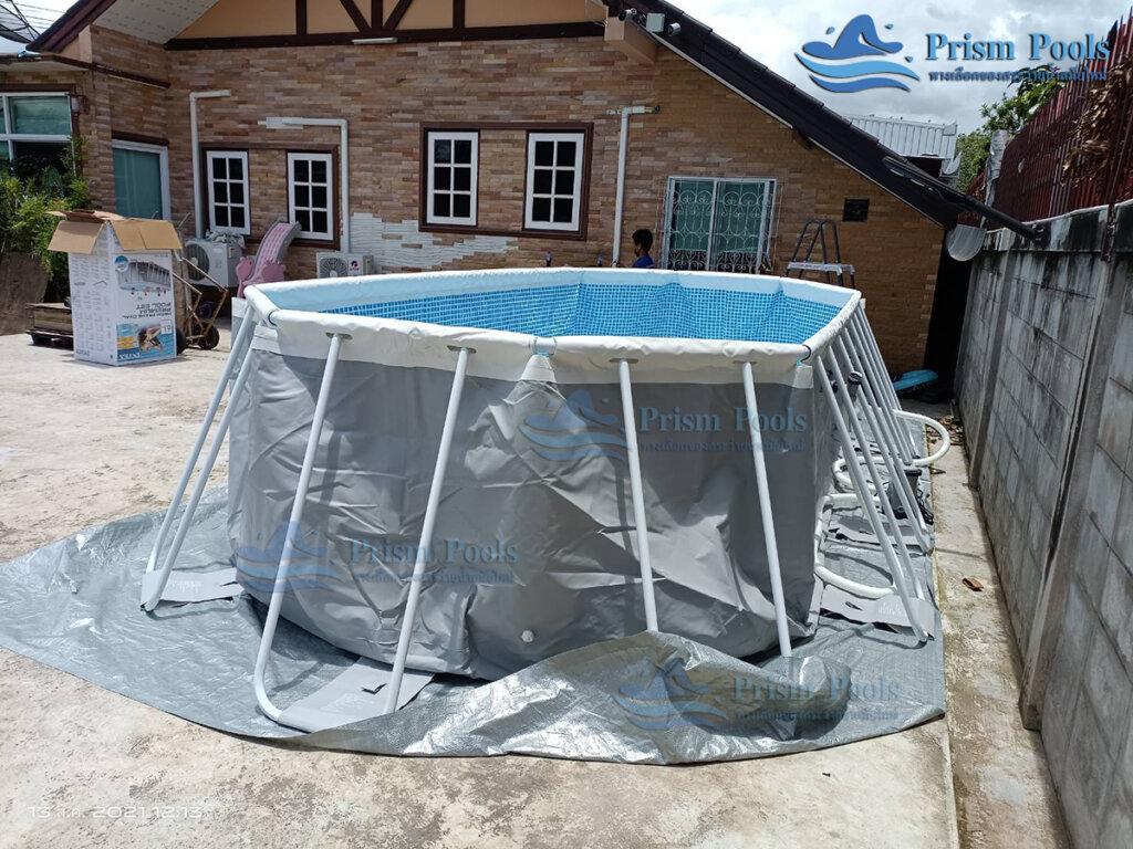 รีวิว ติดตั้งสระว่ายน้ำ Intex Prism Oval 20 ฟุต รหัส 26798-98