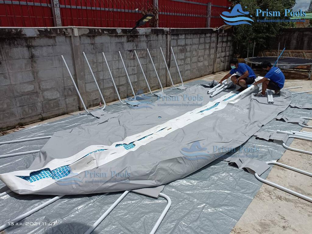 รีวิว ติดตั้งสระว่ายน้ำ Intex Prism Oval 20 ฟุต รหัส 26798-100