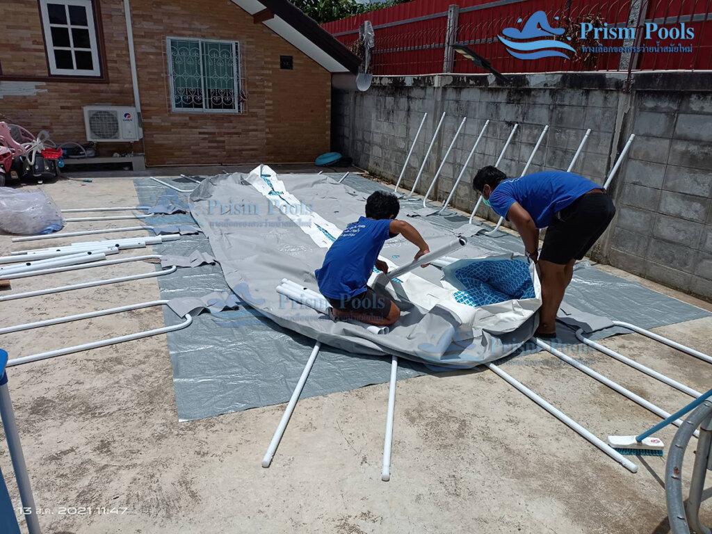 รีวิว ติดตั้งสระว่ายน้ำ Intex Prism Oval 20 ฟุต รหัส 26798-101