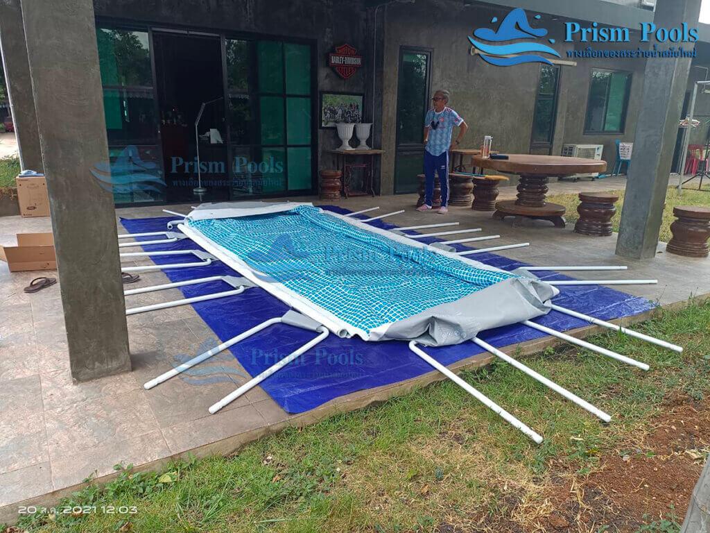 รีวิว ติดตั้งสระว่ายน้ำ Intex Prism Rectangular 13 ฟุต รหัส 26788 - 188