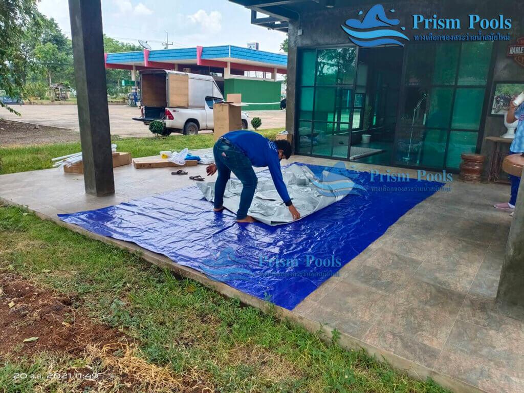 รีวิว ติดตั้งสระว่ายน้ำ Intex Prism Rectangular 13 ฟุต รหัส 26788 - 190