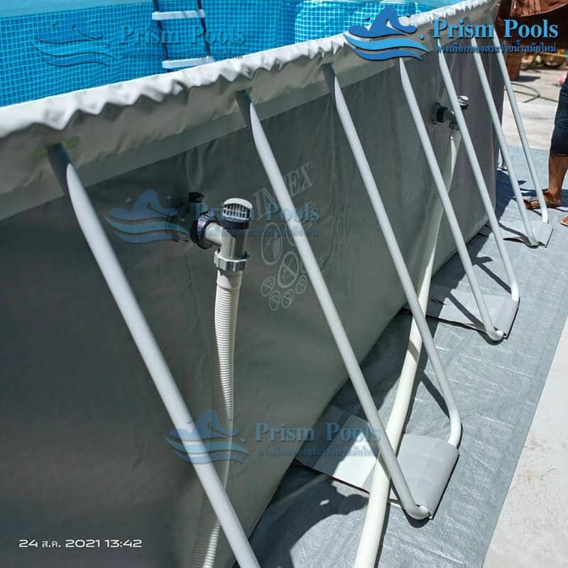 รีวิว ติดตั้งสระว่ายน้ำ Intex Prism Oval 20 ฟุต รหัส 26798-107