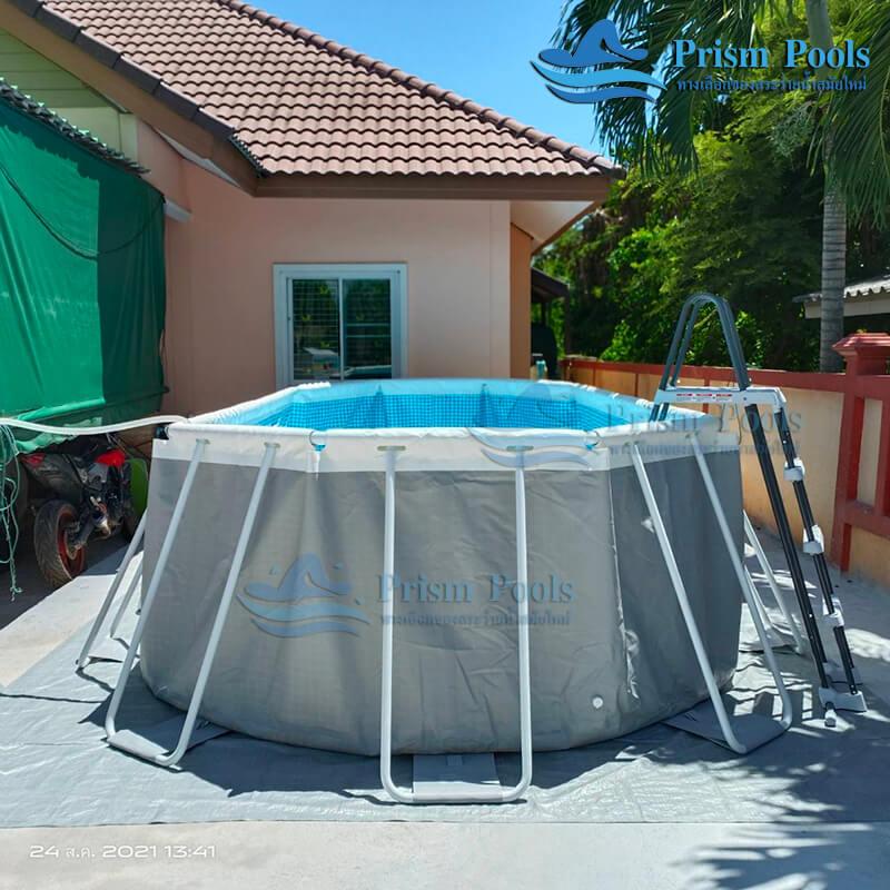 รีวิว ติดตั้งสระว่ายน้ำ Intex Prism Oval 20 ฟุต รหัส 26798-105