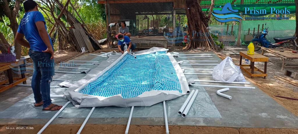 รีวิว ติดตั้งสระว่ายน้ำ Intex Prism Rectangular 16 ฟุต รหัส 26792 - 236