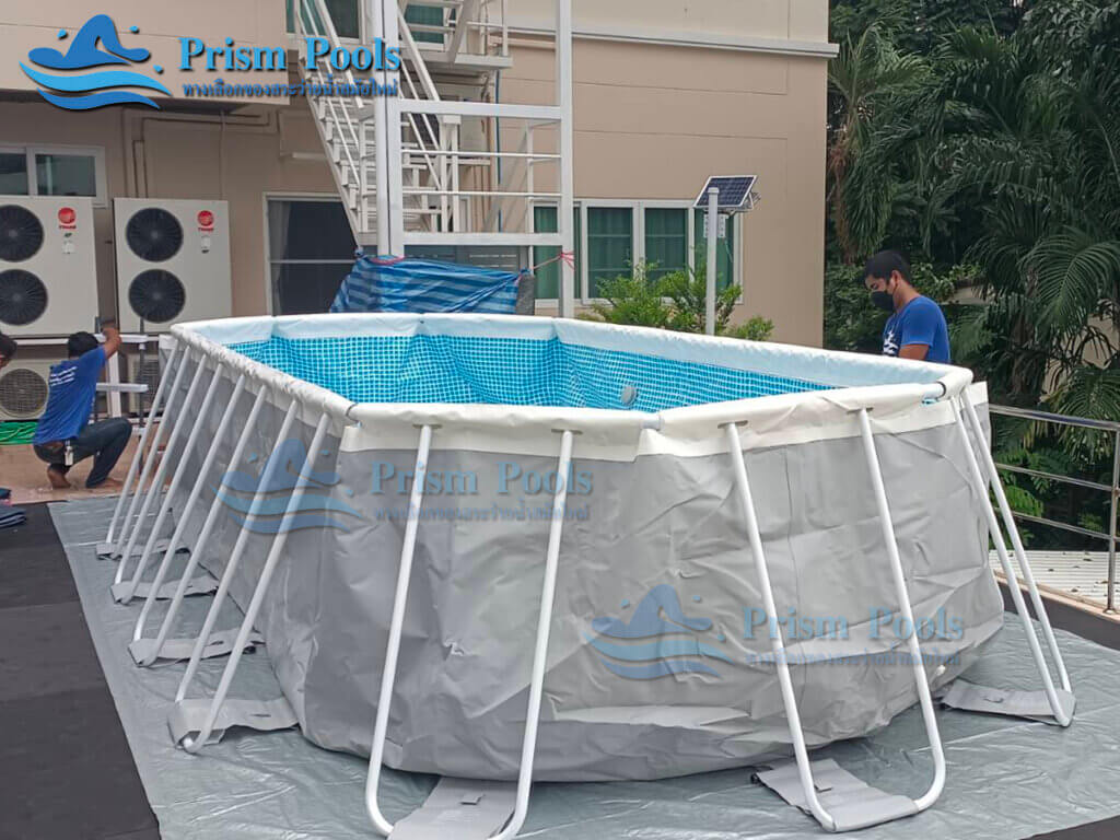 รีวิว ติดตั้งสระว่ายน้ำ Intex Prism Oval 20 ฟุต รหัส 26798-113